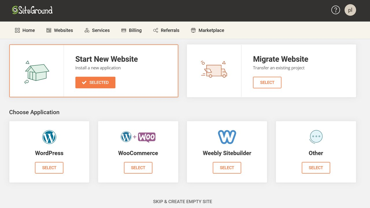 預設可以選擇 WordPress、Woocommerce、Weebly 等架構